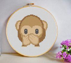 Speak No Evil Monkey Emoji Mini Cross Stitch Pattern PDF Instant Download Room Decor Fun Modern Gift by HeritageStitch on Etsy