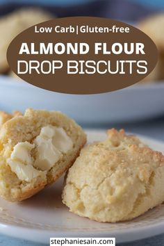 These Almond Flour Biscuits are an easy one bowl recipe that comes together in only twenty minutes. Drop biscuits that require no rolling kneading or cutting out. These no fail biscuits are perfect for a dinner side or make a delicious breakfast. Almond Flour Biscuits, Almond Flour Cookies, Keto Biscuits, Drop Biscuits, Breakfast Biscuits, Almond Flour Recipes, Almond Flour Crackers Recipe, Homemade Biscuits, Coconut Flour
