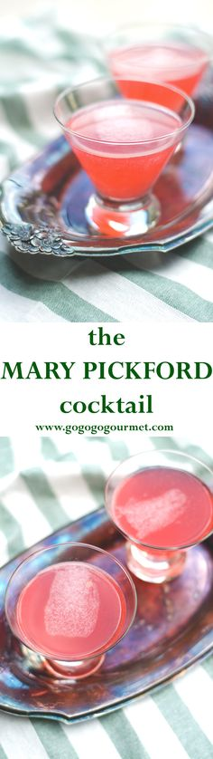 The Mary Pickford Cocktail- a classic drink you've never heard of and never knew you loved so much! Light and fresh, you're sure to flip over this rum-based martini.   Go Go Go Gourmet @gogogogourmet