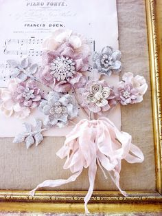 What Happens Next: Fabric flowers tucked behind with no stems, bundled seam binding bow, ends tied. Stems covered w seam binding. Shabby Flowers, Diy Flowers, Fabric Flowers, Paper Flowers, Beautiful Flowers, Beaded Flowers, Simply Beautiful, Beautiful Things, Ribbon Crafts
