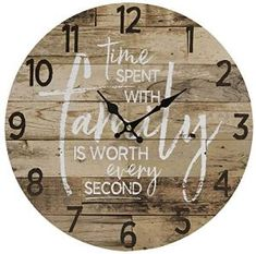 Time Spent with Family Worth Every Second - Round Wood Style Wall Clock for Home- Arabic Numerals, Farmhouse Rustic Home Decor - Wooden Round Home Decoration Wall Clock - 13 Inches Diameter Rustic Wall Clocks, Farmhouse Wall Clocks, Kitchen Wall Clocks, Wood Clocks, Family Wall, Family Clock, Swedish Home Decor, Diy Clock, Clock Wall