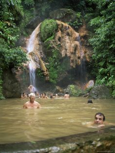 People Bathing in Volcanic Pool, Island of Sao Miguel, Azores, Portugal