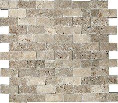 1-Inch x 2-Inch Split Face Noce Travertine Mosaic Tile