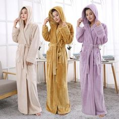 Lovers Hooded Extra Long Thermal Bathrobe Women Men Plus Size Winter  Thickening Warm Bath Robe Dressing 238dc900a