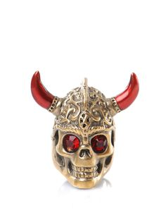 Alexander McQueen Red and Gold Warrior Ring