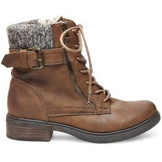Steve Madden Women's Mimsy Booties ($50) ❤ liked on Polyvore featuring shoes, boots, ankle booties, brown, ankle boots, brown boots, low heel ankle boots, low heel booties and brown lace up boots
