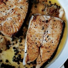 Butter basted halibut steaks with capers. Get the pan smoking hot so the fish won't stick. Let it get a good sear on the first side, which will also help it release. Halibut Steak Recipe, Best Halibut Recipes, Best Fish Recipes, Steak Recipes, Sauce Recipes, Seafood Recipes, Cooking Recipes, Favorite Recipes, Diet Recipes