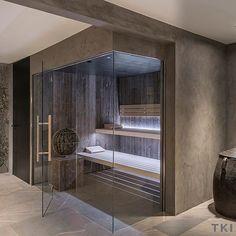 It's cold outside, but no worries, time to relax in your own home sauna. Sauna House, Sauna Room, Contemporary Saunas, Massage Room Design, Indoor Sauna, Gym Room At Home, Sauna Design, House Gate Design, Modern Farmhouse Design