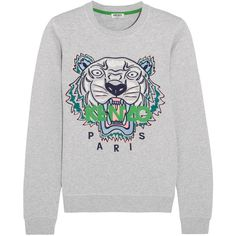 KENZO Icon embroidered cotton-jersey sweatshirt (€235) ❤ liked on Polyvore featuring tops, hoodies, sweatshirts, sweatshirt, kenzo, pull, sweaters, light gray, embroidered top and safari top