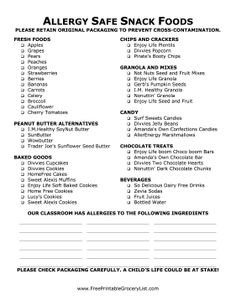 This allergy safe snack food shopping list will help parents make safe decisions about what to include in student lunches. Whether you've got a peanut allergy classroom or a gluten intolerance, the foods on this list are a safe bet for most students. However, if you need to make special requests, a space is provided for special avoidances! Free to download and print