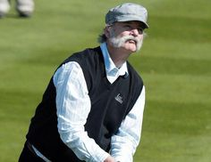 Bill Murray is getting serious about his facial hair. The 62-year-old actor showed off his gray mustache at the Pebble Beach Golf Links where he participated in the celebrity challenge event of the AT Pebble Beach Pro-Am golf tournament Feb. 6, 2013. (Ben Margot/AP Photo)
