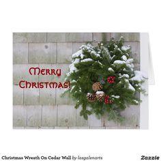 Shop Christmas Wreath On Cedar Wall Holiday Card created by lasgalenarts. Custom Christmas Cards, Christmas Greeting Cards, Holiday Cards, Holiday Decor, Cedar Walls, Holiday Essentials, Holiday Postcards, Postcard Size, Paper Texture