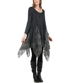 Deep Gray Lace Handkerchief Tunic - Plus #zulilyfinds