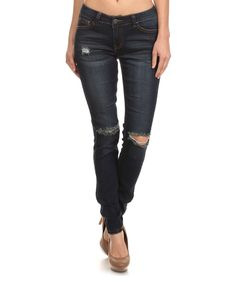 Dark Navy Rock & Royal Distressed Skinny Jeans