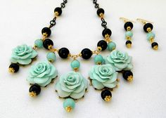 Mint statement necklace Handmade jewelry   by insoujewelry on Etsy, $72.00