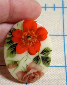 Cabochon  2 RARE Early Glass Floral by bansheehouseofmake on Etsy, $8.50