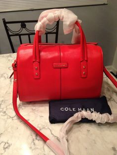 Cole Haan Nwt! Large Emma Leather Tote Crossbody Handbag Red Satchel. GORGEOUS!!! SALE!!!