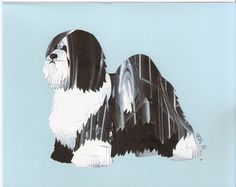 Tibetan Terrier Cut Up by CanineCutUps on Etsy, $35.00