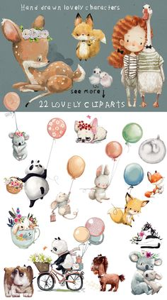 3 D Bilder 22 lovely characters by Eve_Farb Baby Illustration, Character Illustration, Watercolor Illustration, Graphic Illustration, Watercolor Art, Animal Illustrations, Digital Illustration, Nursery Art, Cute Drawings