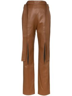Shop online brown Matériel high-waisted slit trousers as well as new season, new arrivals daily. Phenomenal luxury selection, get it now with quick Global Shipping or Click & Collect orders. Jeans Pants, Khaki Pants, Trousers, Young Designers, Fashion Line, Looks Style, Size Clothing, Pants For Women, Women Wear