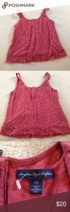 NWOT Rusty red lace tank! This such a cute tank! Looks great dressed up or down! It has no holes or stains! It comes from a smoke free but pet friendly environment. I don't hold or trade. No modeling. I don't negotiate the price in the comments. I only sell through poshmark. American Eagle Outfitters Tops Tank Tops
