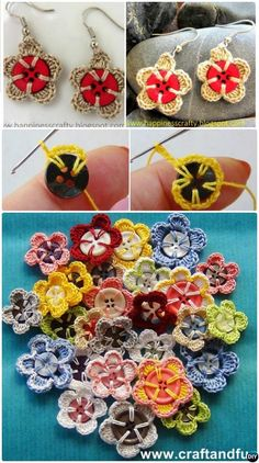 Crochet Button Flower Free Pattern Instruction The Effective Pictures We Offer You About Button Crafts Ideas how to make A quality picture can tell you man Crochet Jewelry Patterns, Crochet Earrings Pattern, Crochet Buttons, Crochet Flower Patterns, Thread Crochet, Crochet Accessories, Crochet Motif, Crochet Crafts, Yarn Crafts