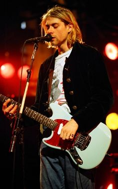 Kurt Cobain of Nirvana performs during MTV Live and Loud in Seattle, Washington.