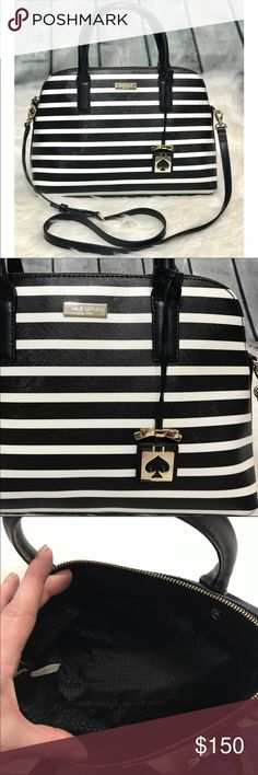 "Kate Spade Small Rachelle Striped Satchel Bag This handbag was only carried a couple times. EUC!  Inside is super clean. Black and white stripe outside is super durable and easy to clean!  There is a few very faint marks that are not noticeable at all, And very hard to see! Pic posted. Strap and handles are leather. Long strap can be worn as Crossbody, or removed to carry as Satchel. Perfect bag to carry year round!!! Approximately 14""W, 9""H, 4.5""D, 4.5"" handle drop. kate spade Bags Satchels"
