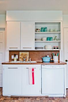 Open shelving, blues and whites | Home of Steve and Kalah Kren, Design*Sponge