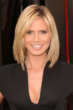 Choppy Medium Length Hairstyles | Medium hairstyle for women -the blonde bob hairstyle from Heidi Klum