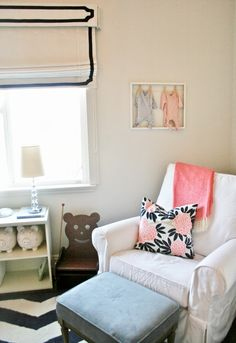 Navy and coral baby spaces