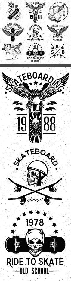 Set of Skateboarding Design Elements. Download here: http://graphicriver.net/item/set-of-skateboarding-design-elements/15220718?ref=ksioks