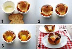 Yum DIY breakfast is served Breakfast Basket, Breakfast Desayunos, Breakfast Recipes, Breakfast Ideas, Comida Diy, Eggs In A Basket, Good Food, Yummy Food, Tasty