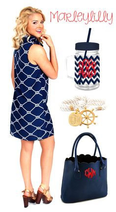 Get ready for the beach this summer! Marleylilly.com has the perfect nautical accessories! (Dress is available at Mondaydress.com) #nautical #beach #ootd #fashion #preppy