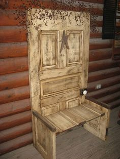 paintingprimitives.com Old door made into a lovely bench