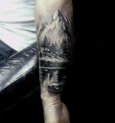 Water Landscape Guys Forest Forearm Tattoo