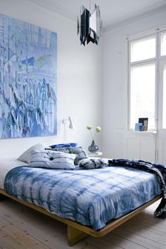 tie dye bedding  #bedroom décor, beds, headboards, four poster, canopy, tufted, wooden, classical, contemporary bedroom, nightstand, walls, flooring, rugs, lamps, ceiling, window treatments, murals, art, lighting, mattress, bed linens, home décor, #interiordesign bedspreads, platform beds, leather, wooden beds, sofabed