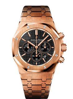 Audemars Piguet Royal Oak Chronograph 41MM 18K Pink Gold, Black Dial, 18K Pink Gold Bracelet Reference 26320OR.OO.1220OR.01