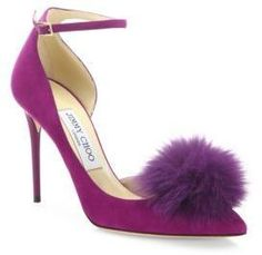 Jimmy Choo Rosa Fox Fur Pom-Pom & Suede d'Orsay Ankle-Strap Pumps