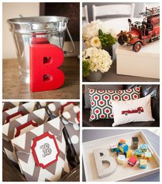 Vintage Firetruck themed baby shower Full of Darling Ideas via Kara's Party Ideas | Cake, decor, favors, printables, games, and more! KarasP...