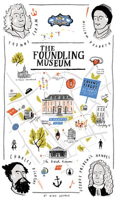 Nina Cosford - Tea towel map design for the Foundling Museum, London #map #london