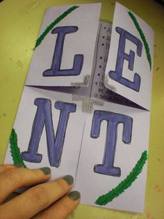 This is the Lent foldable we used to take notes over our discussion of Lent from the past few days.  It will make a great addition to a notebooking project or could be hung up as a simple Lent decorat