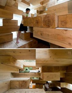 Ultimate Wooden House Made of Jenga-Like Stacked Beams; by Sou Fujimoto Architects. Located in Kumamoto, Japan.
