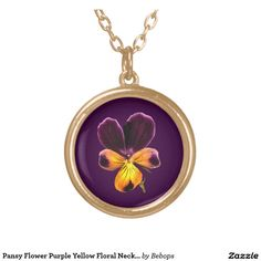 #Pansy Flower Purple Yellow Floral Necklace @bebopsplace