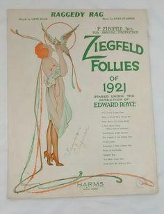 Raggedy Rag Ziegfeld Follies of 1921 Antique Sheet Music