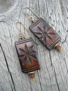 Tribal Tablets ... Handcarved Bone and Brass by juliethelen, $20.00