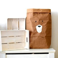 Bear face hand painted paper storage bag Toy sack от ZazoMini