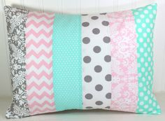 Throw Pillow Cover, Nursery Pillow Cover, Baby Girl Nursery Pillow, 12 x 16 Inches, Baby Pink, Mint Green, Seafoam, Gray, Grey, Chevron