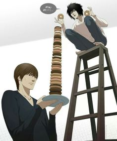Are you sure that you can eat all these donuts lol Light & L from #DeathNote