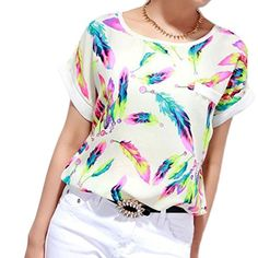 2018 Women Feathers Chiffon Blouse Tops Casual Short Sleeve Loose T-Shirt TOPUNDER